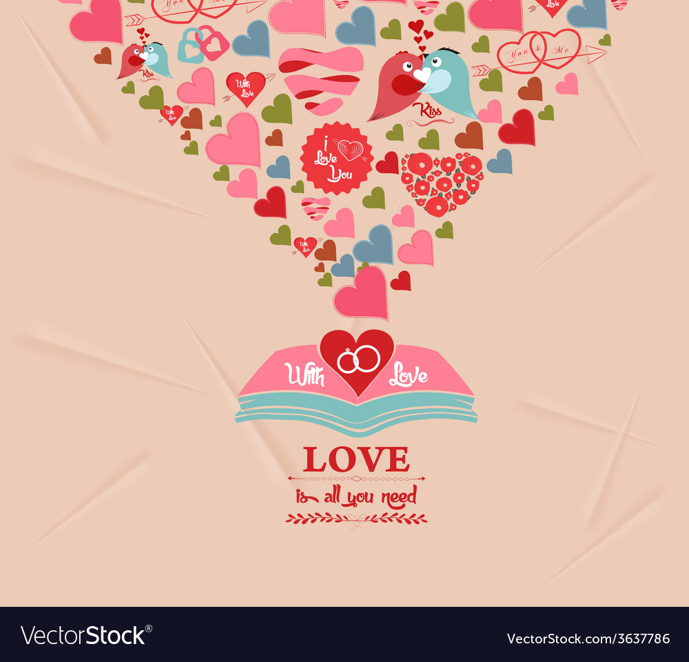 Colorful Valentines Day Elements Greeting Card Vector Image