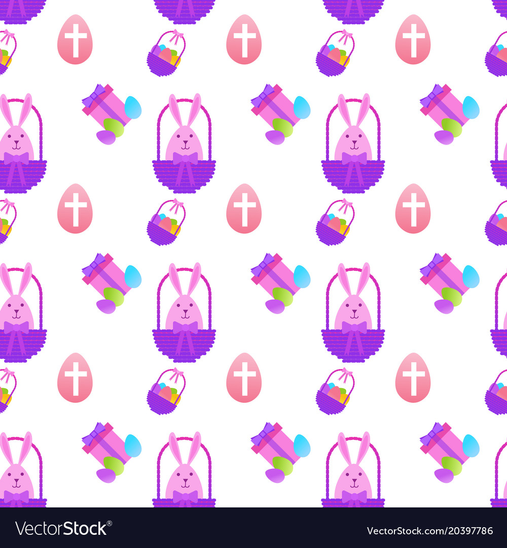 Easter seamless pattern with painted eggs and