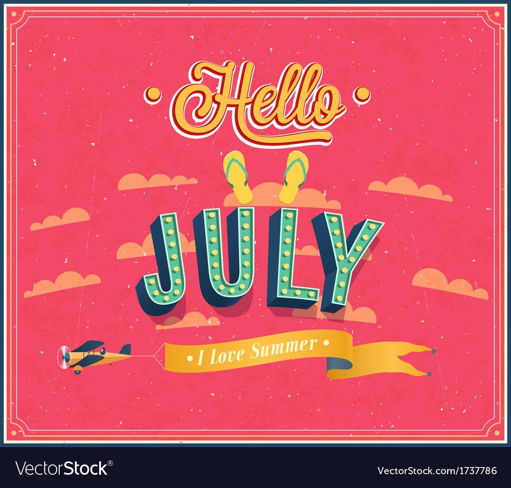 Hello july typographic design