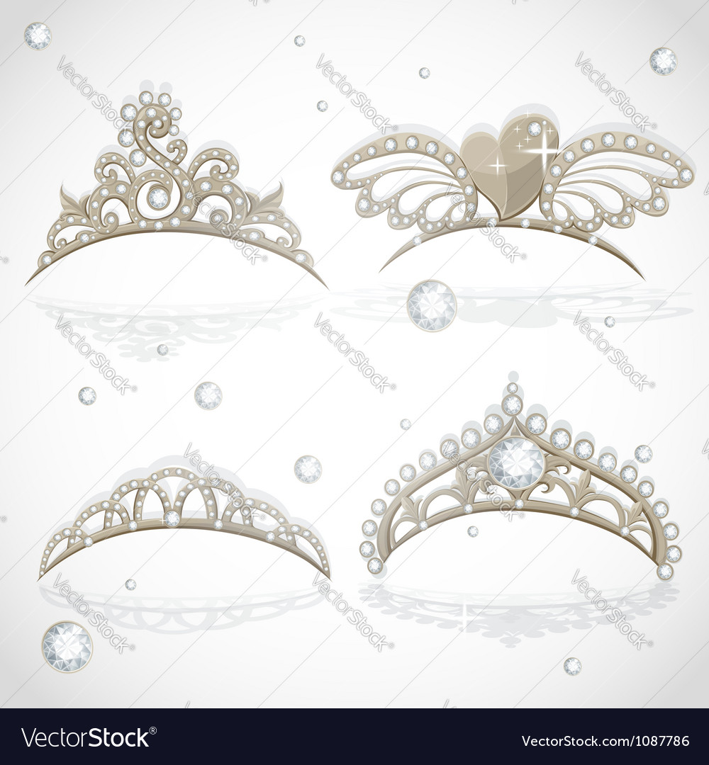Shining gold girls tiaras with diamonds vector image