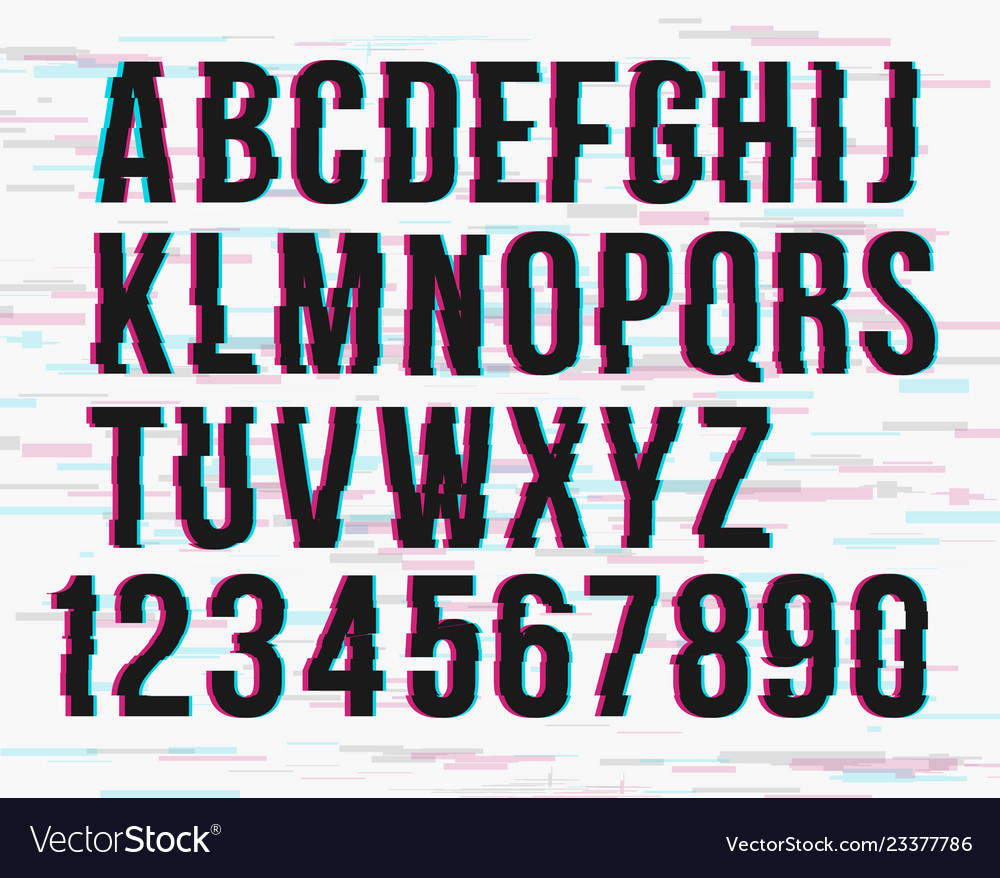 Trendy style distorted glitch typeface alphabet