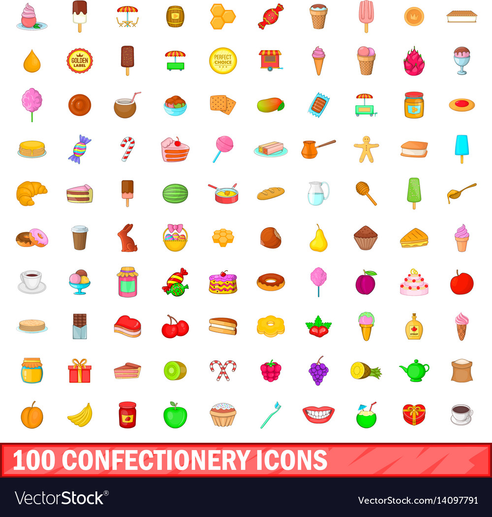 100 confectionery icons set cartoon style