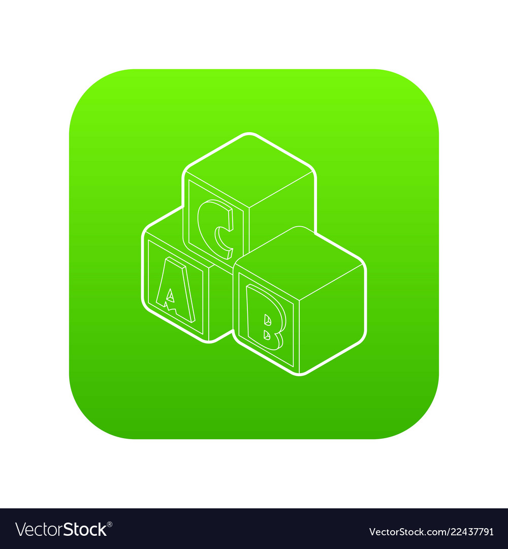Alphabet cubes with letters abc icon green