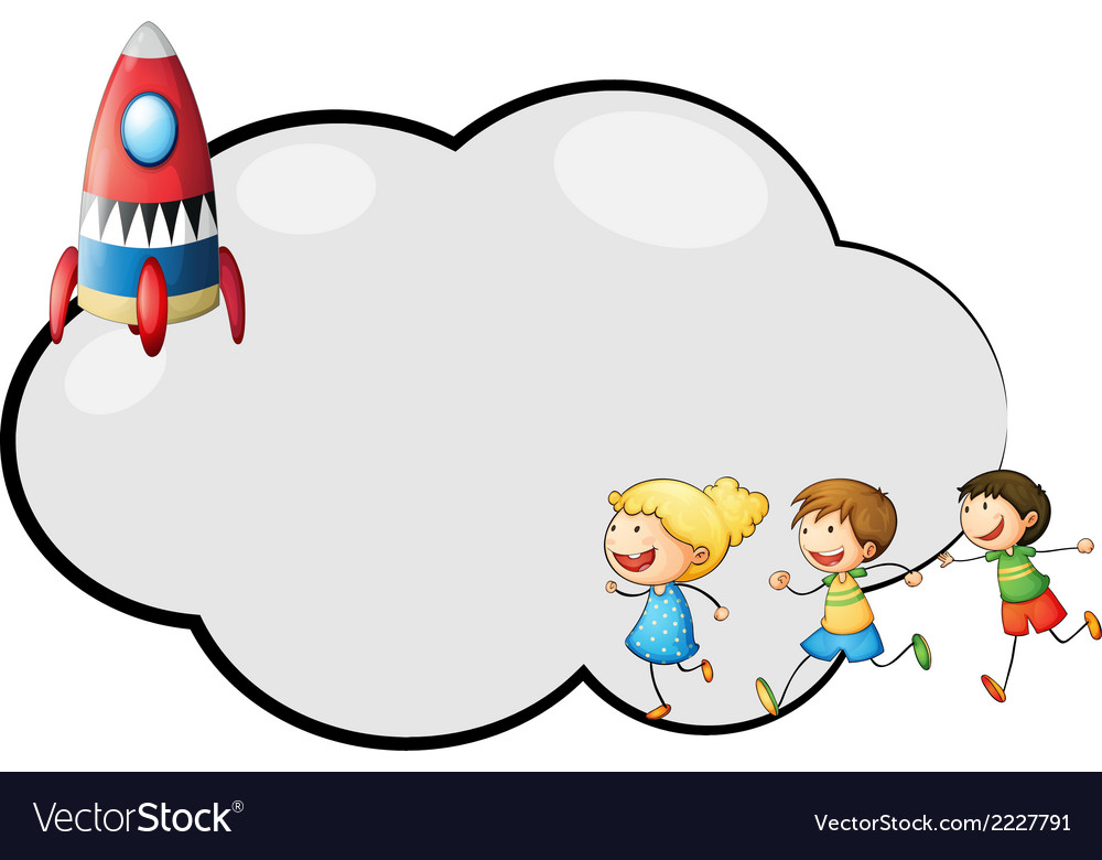 An empty cloud template with kids and a rocket