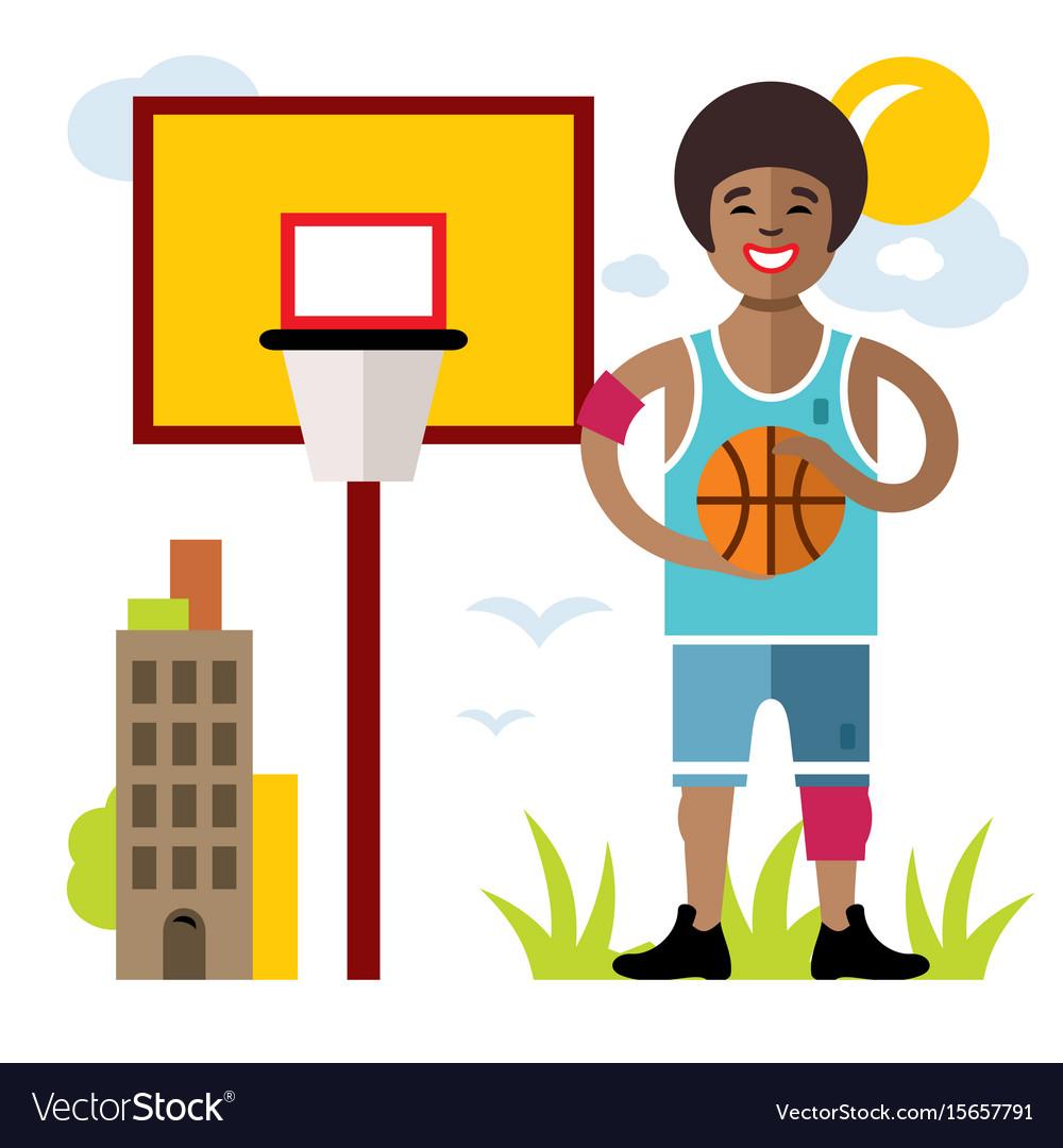 Basketball flat style colorful cartoon