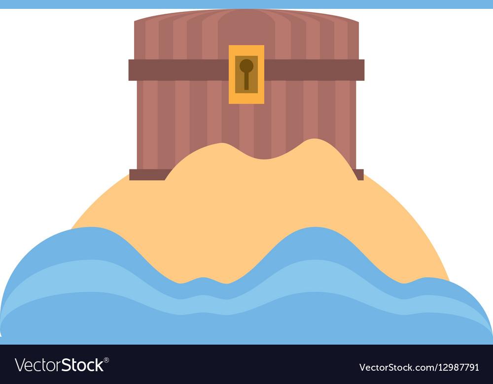 Chest pirate wooden closed treasure sand sea vector image