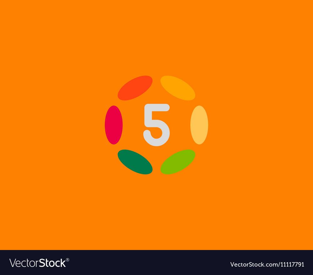 Color number 5 logo icon design Hub frame