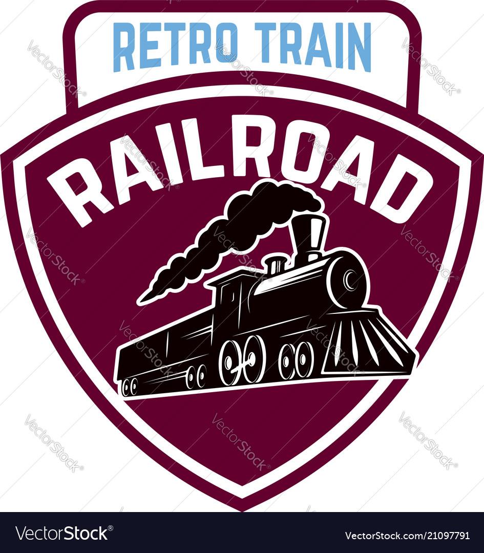 Emblem template with retro train rail road