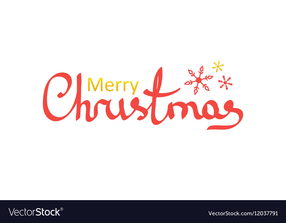 Hand drawn lettering merry christmas words Vector Image