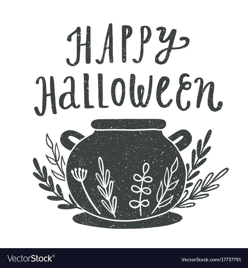 Happy halloween witches caldron silhouette