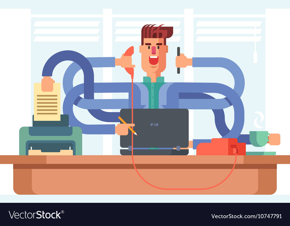 Man office worker multitasking vector image