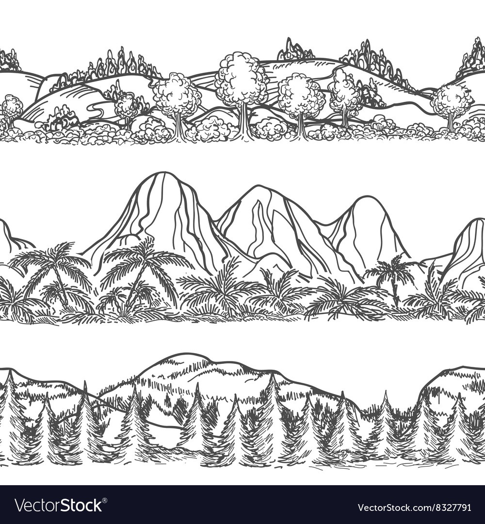 Mountains and forest hand drawn landscapes