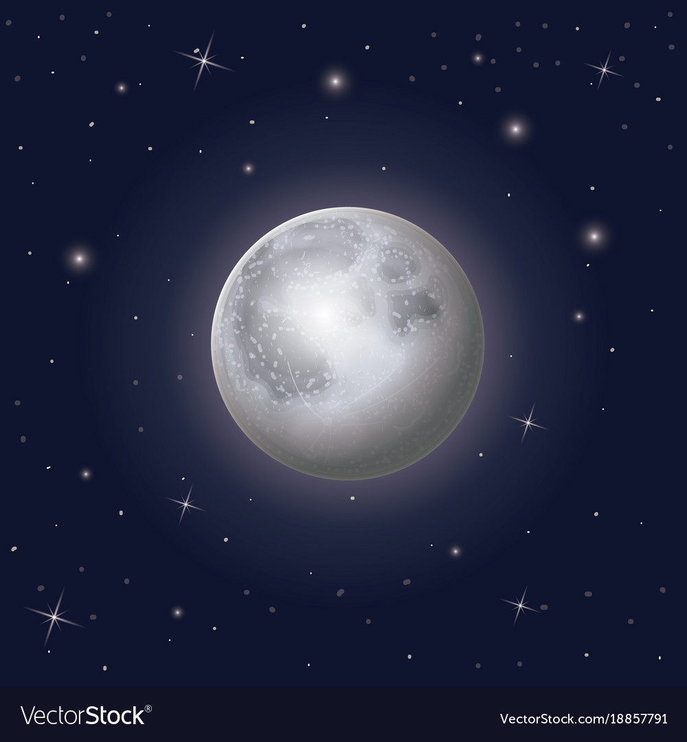Nightly sky scene background with moon and stars