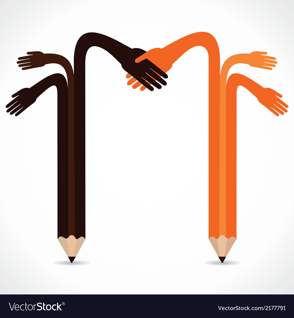 pencil hands want to hand shake royalty free vector image