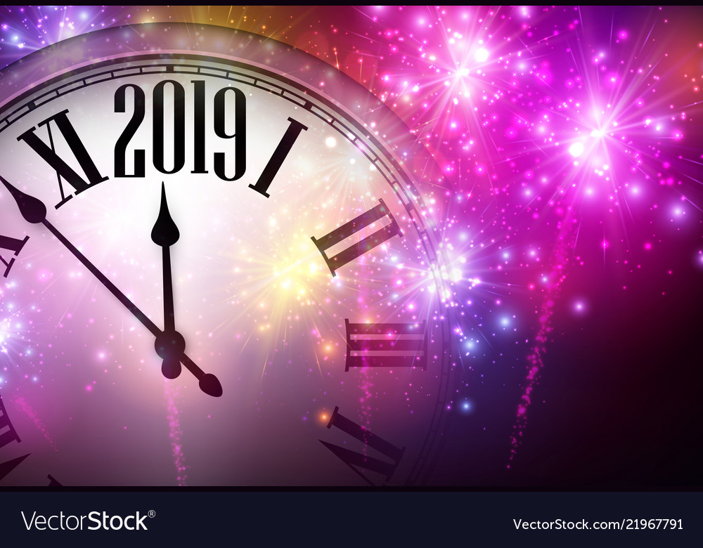 pink shiny 2019 new year background with clock and vector image