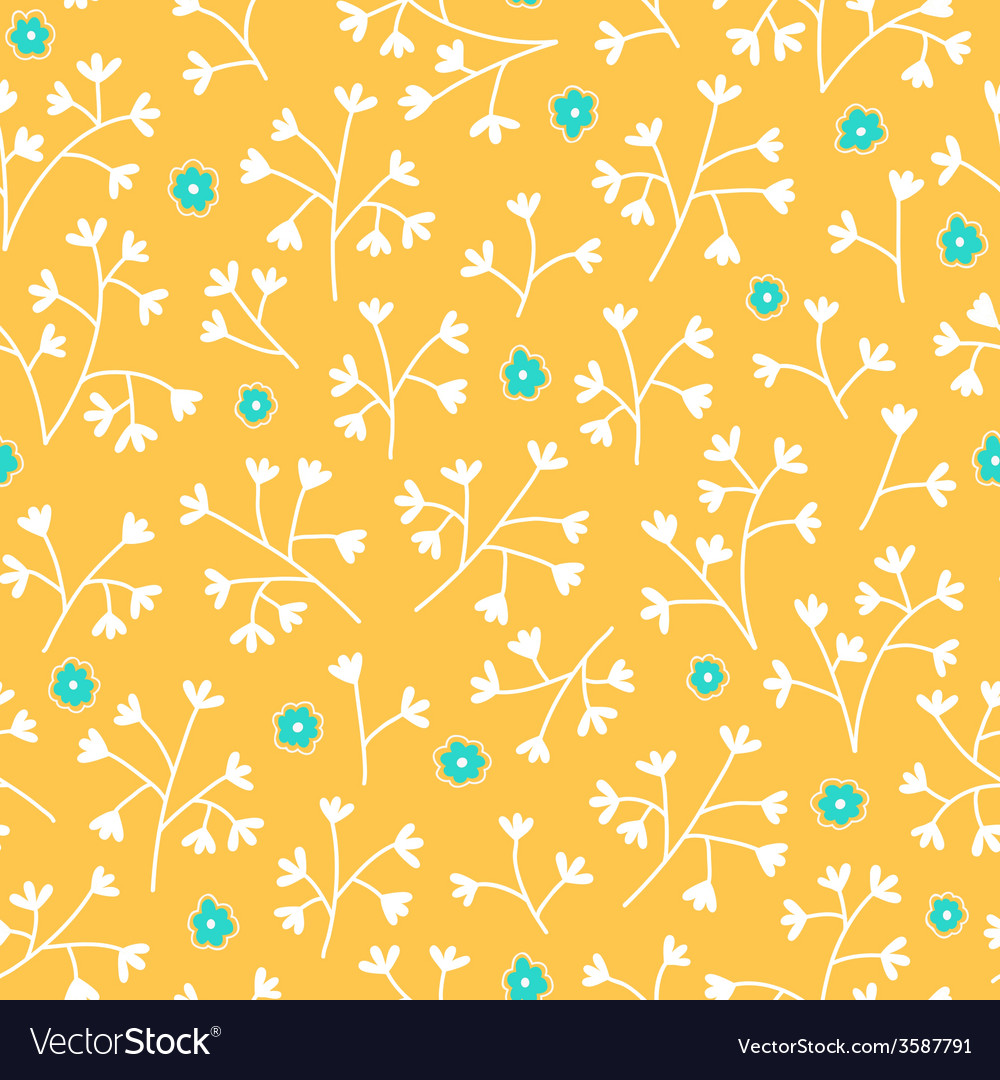 Seamless Floral Wallpaper With Hand Drawn Flowers Vector Image
