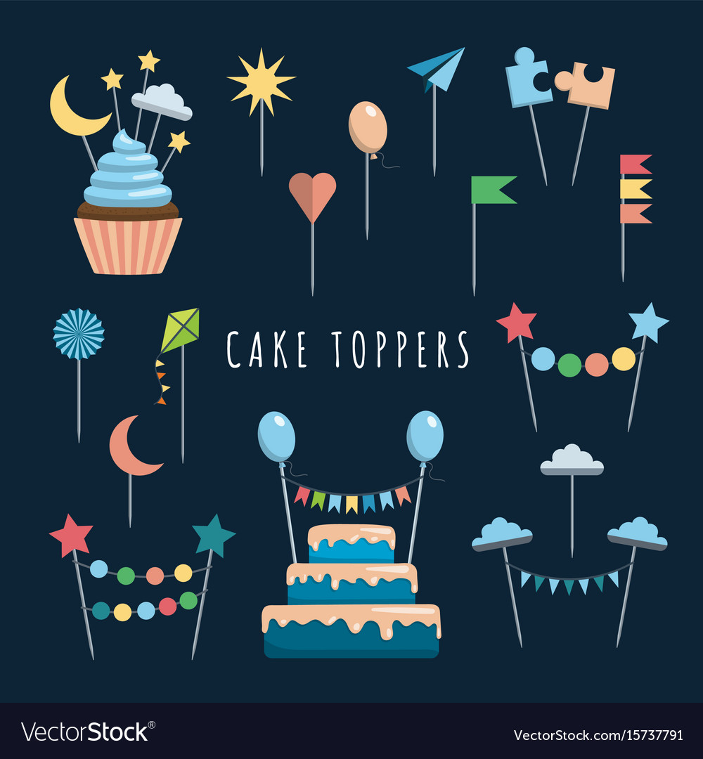 Set cake and cupcake toppers