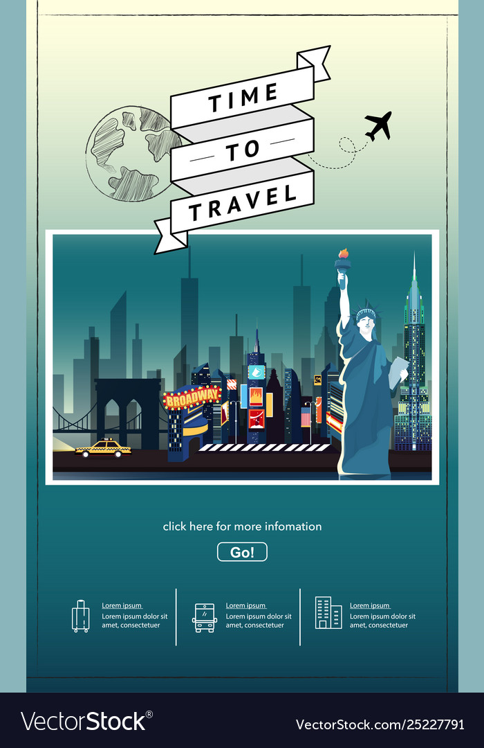 Travel to newyork presentation template vector