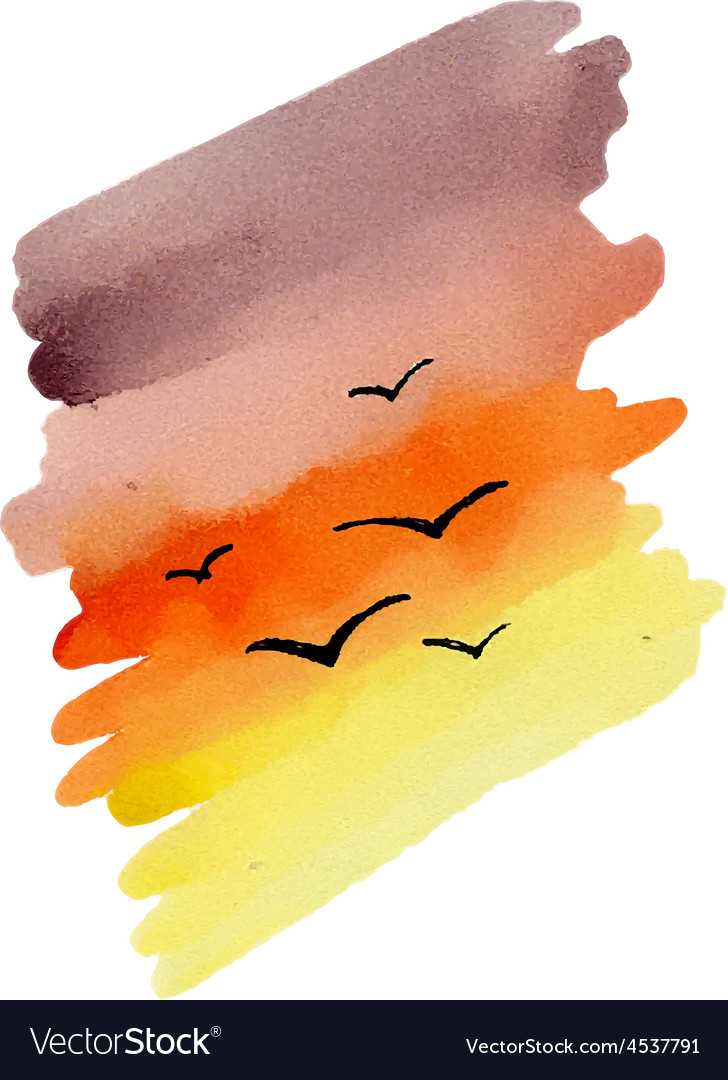 Water Color Sunset vector image
