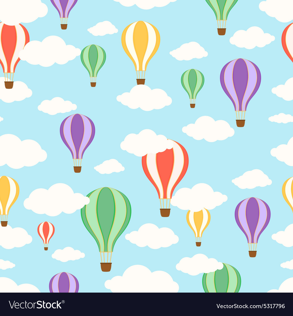 Air balloons in the sky Seamless pattern