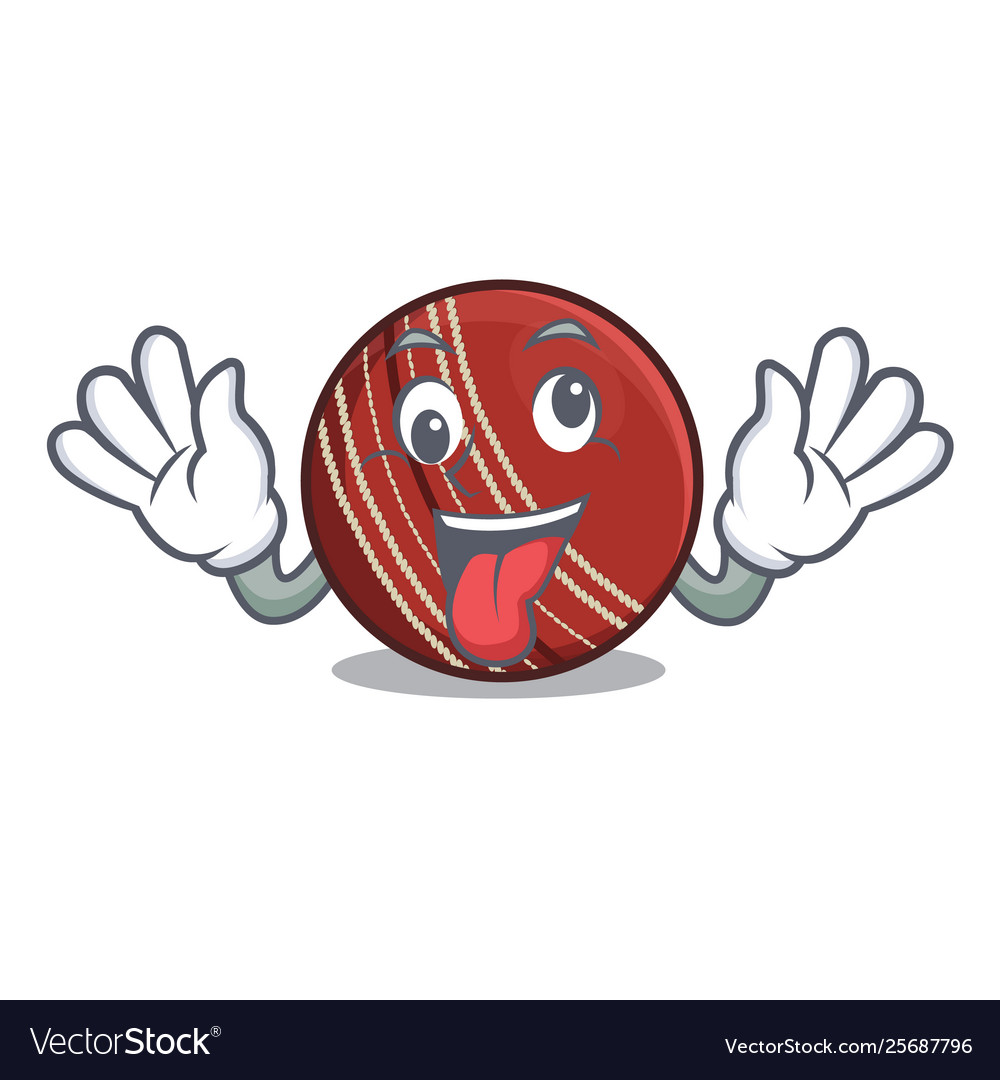 Crazy Cricket Ball In Character Column Royalty Free Vector