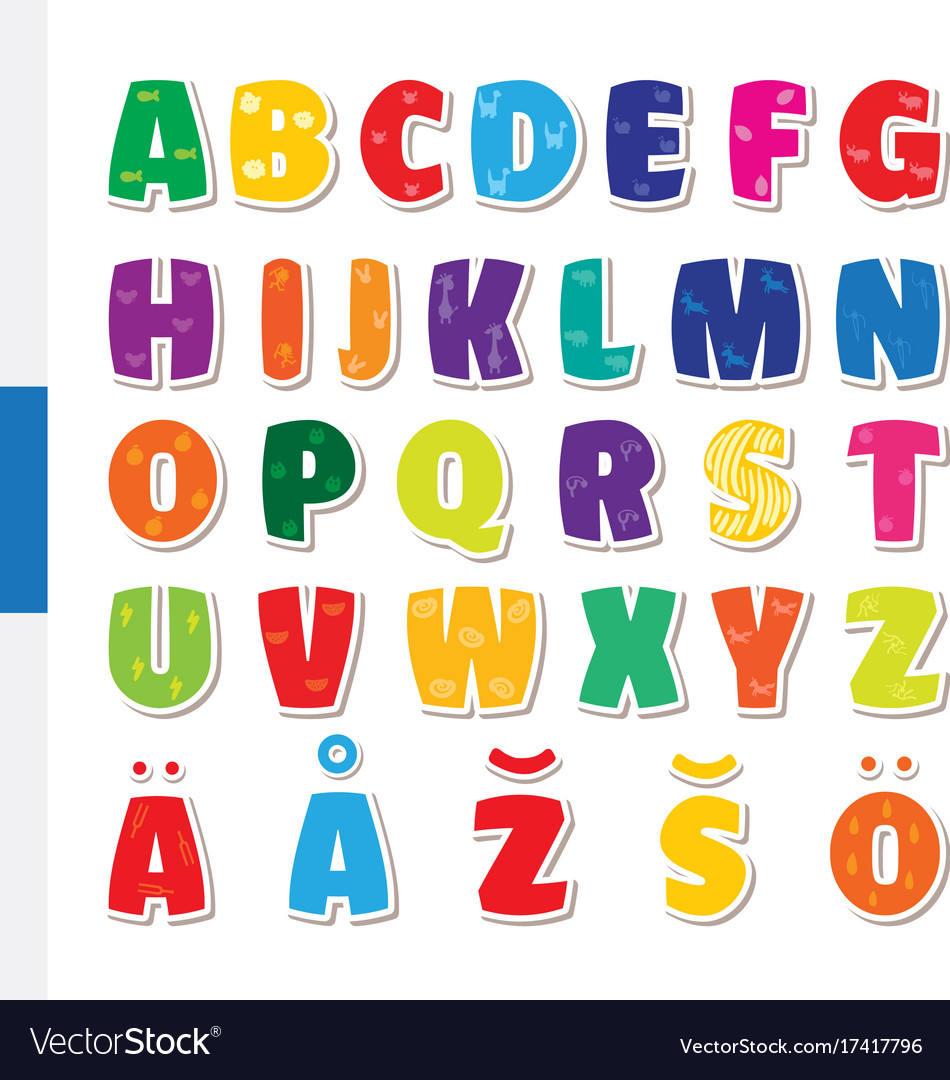 Cute Funny Childish Finnish Alphabet Font Vector Image