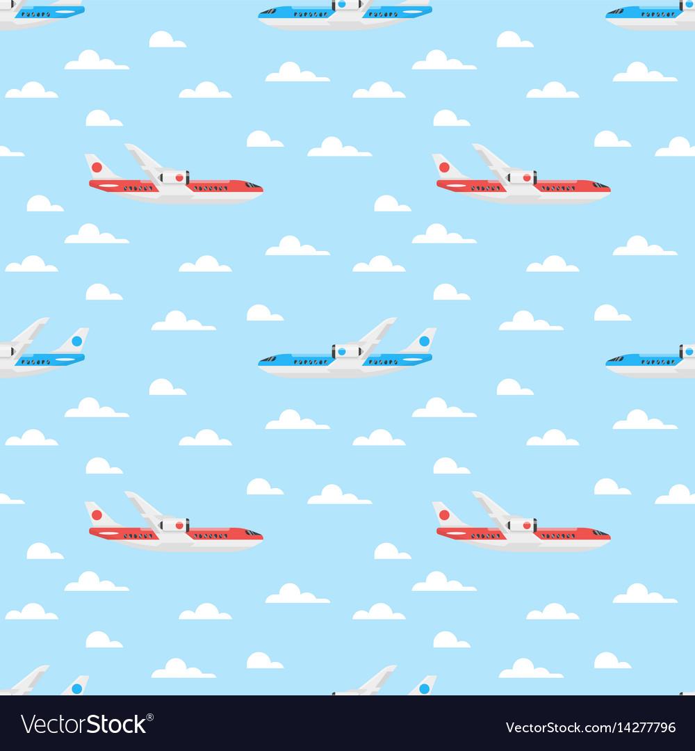 Flat style seamless pattern with plane