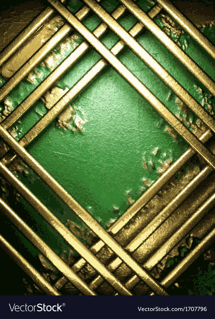 Gold on green background