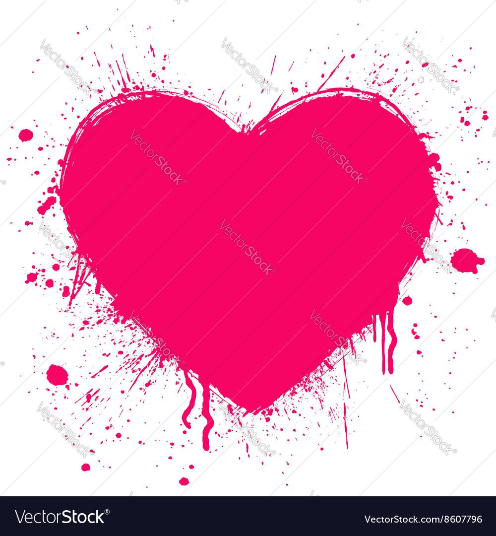 Grunge heart on white background