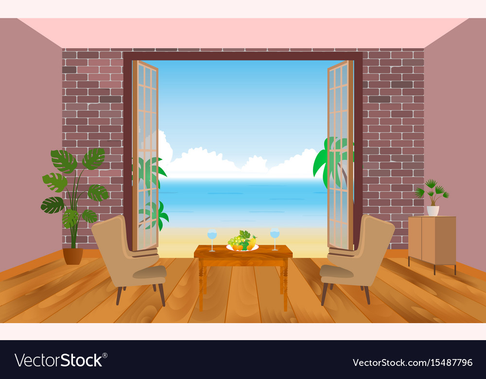 Interior of resort hotel room with armchairs vector image