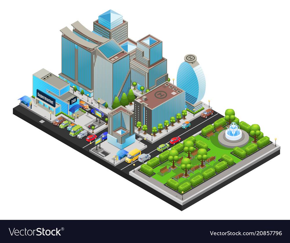 Isometric modern cityscape template