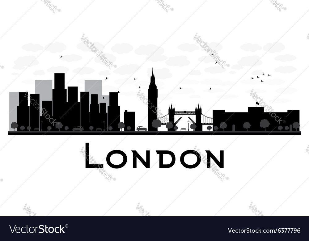 London Skyline Black And White Silhouette Vector Image