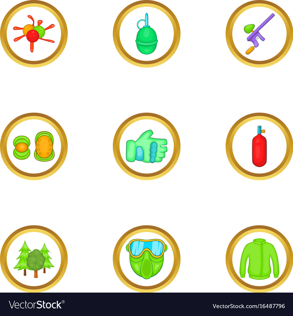 Paintball game icons set cartoon style