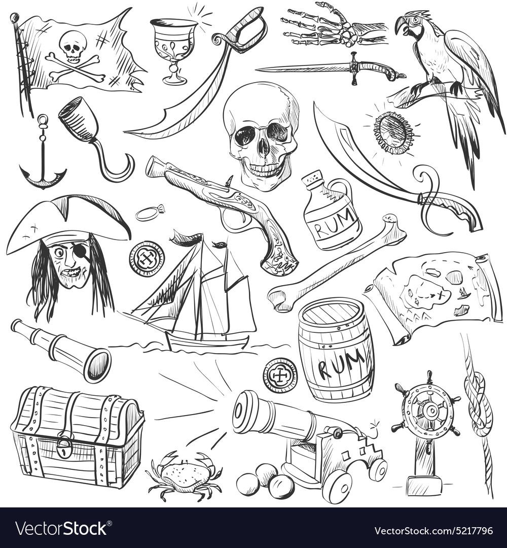Pirates set Hand drawn