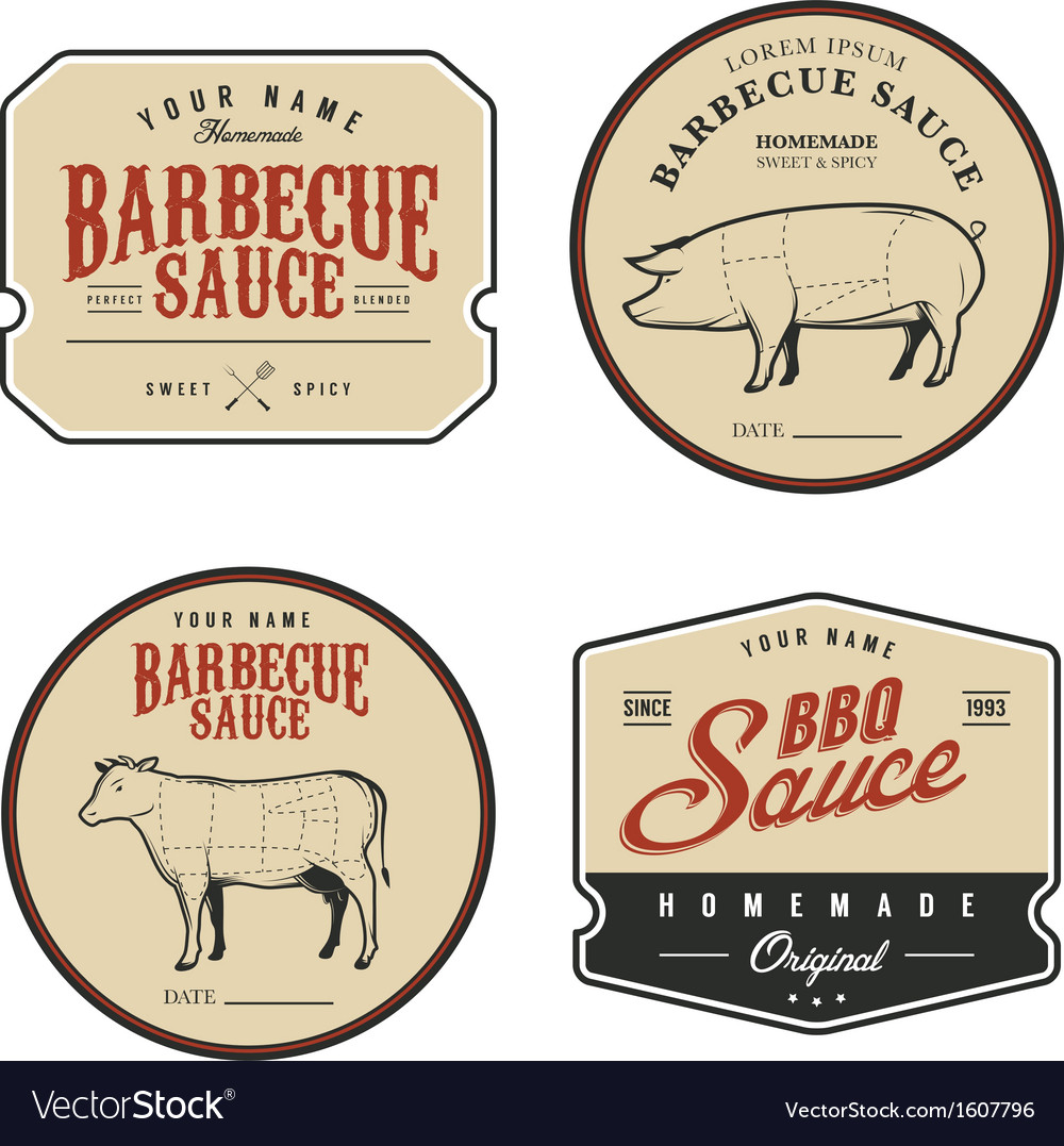 Set of vintage homemade barbecue sauce labels vector image