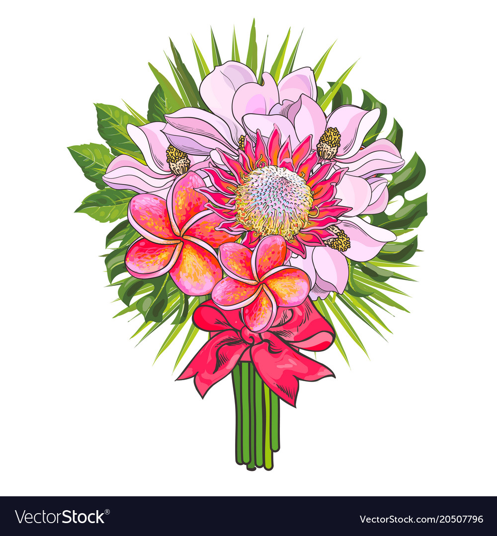 Tropical flowers and green palm leaves in bouquet Vector Image