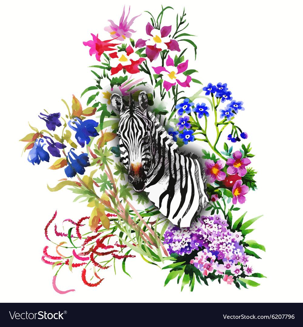 Zebra Flowers Seamless Pattern Royalty Free Vector Image