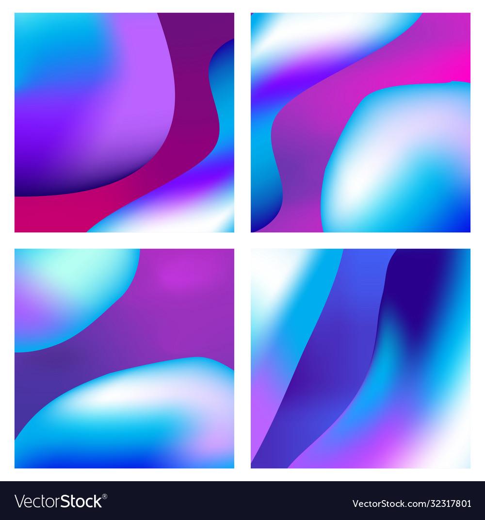 A set trendy liquid backgrounds blue cyan