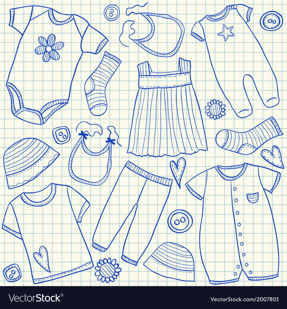 Baby clothes doodles on school squared paper