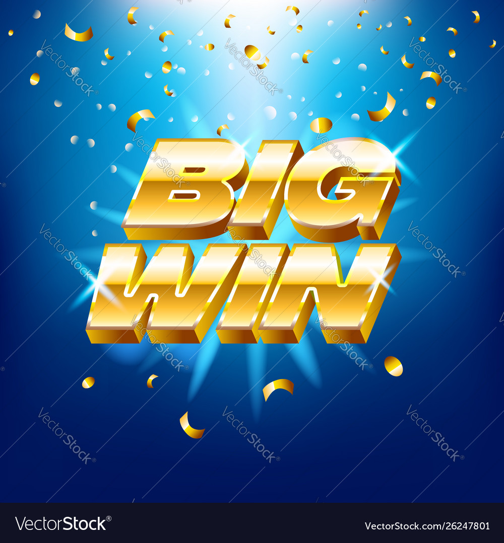 Big win banner with gold text for casino machines