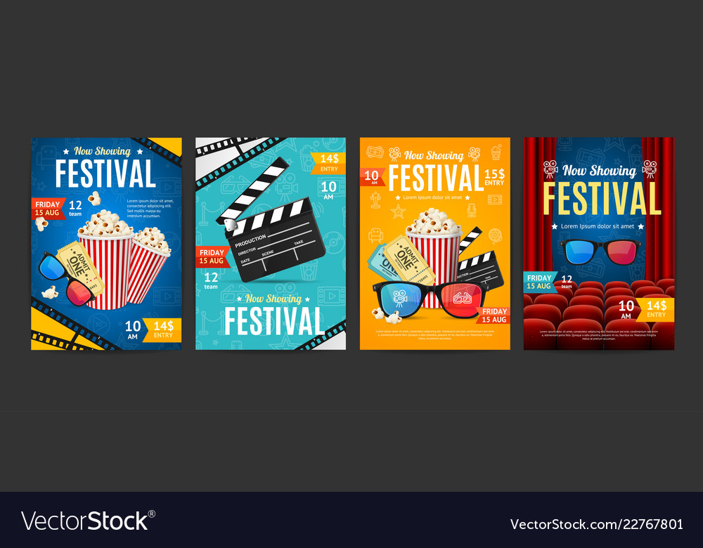 Cinema placard set with realistic 3d detailed