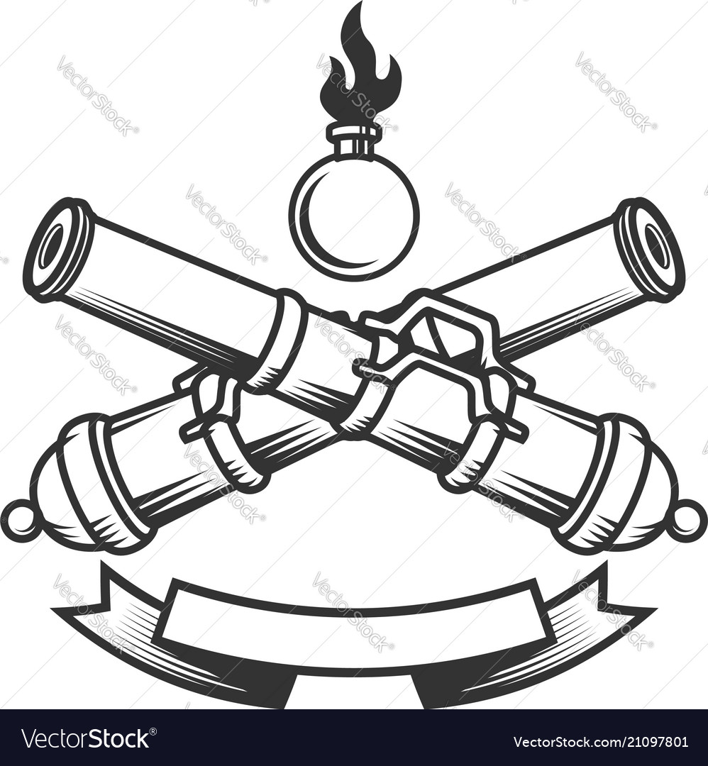 Emblem template with vintage cannons design