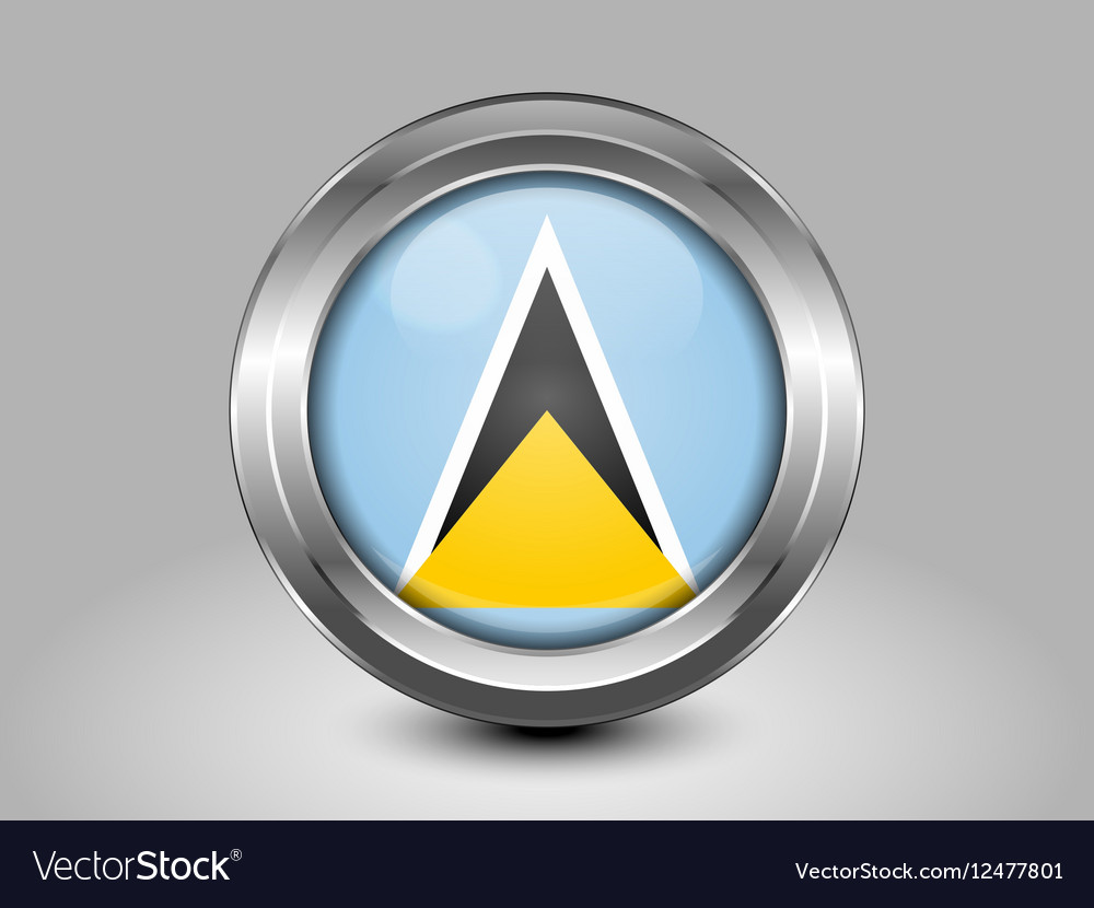 Flag of Saint Lucia Metal and Glass Round Icon vector image