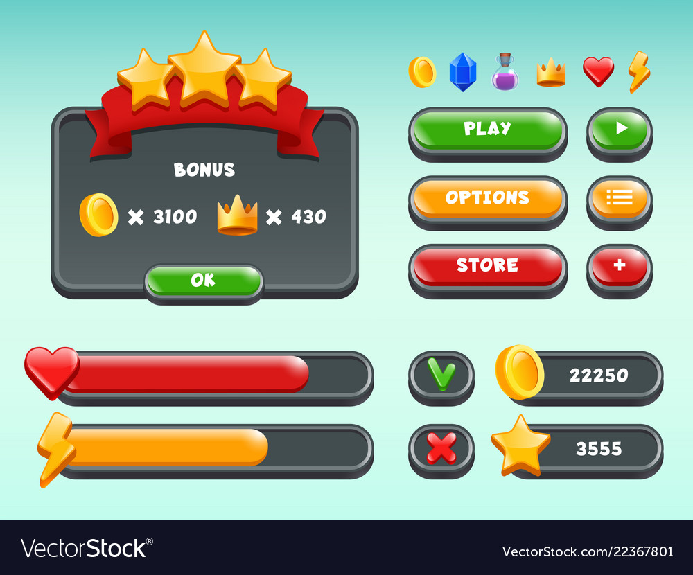 Games gui set mobile gaming user interface icons