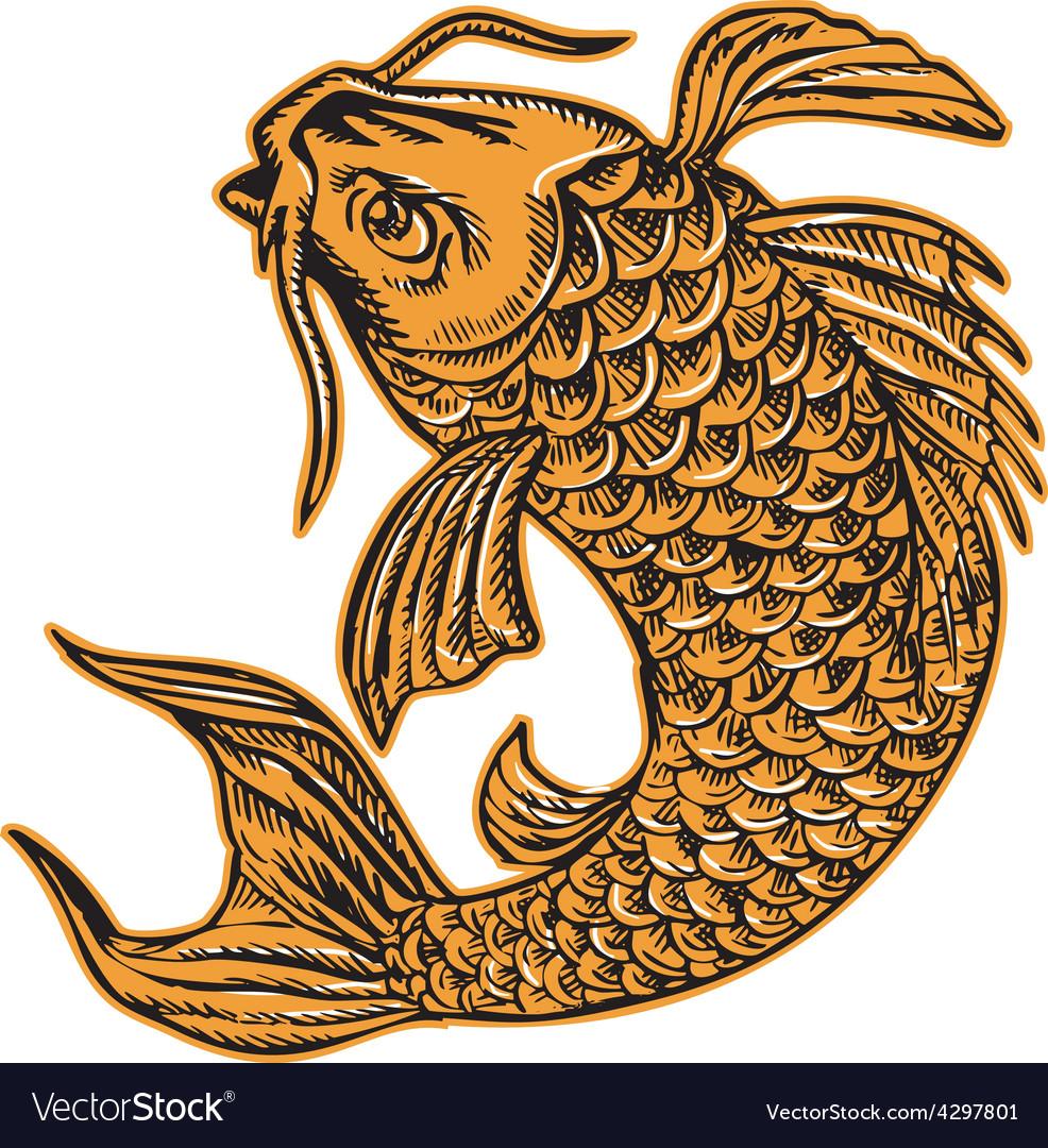 Koi Nishikigoi Carp Fish Jumping Etching vector image