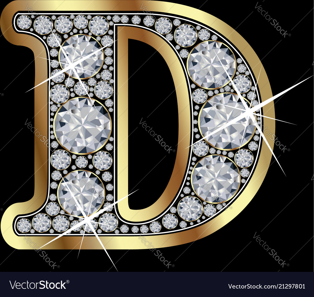 33c08df3f07 Letter d with diamonds Royalty Free Vector Image