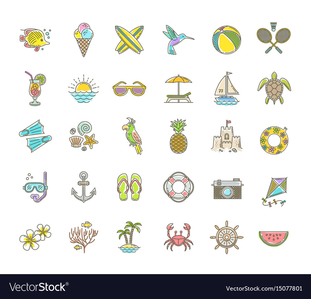 Line drawing icons - summer vacation and holidays