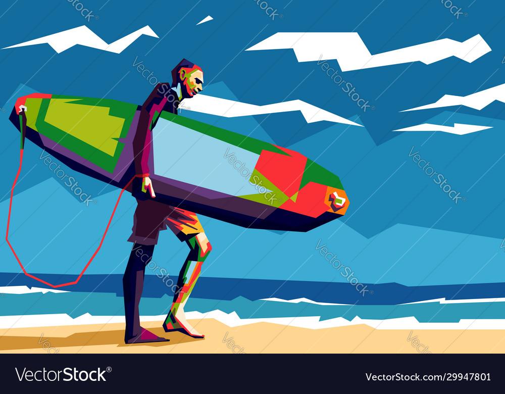 Man surfer carrying his surfboard pop art