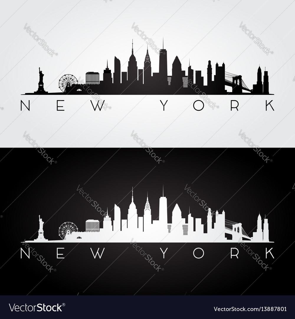New york usa skyline and landmarks silhouette vector image