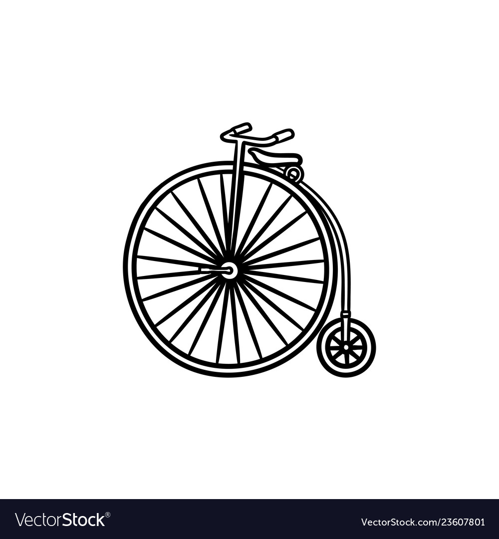 Old high wheel hand drawn outline doodle icon